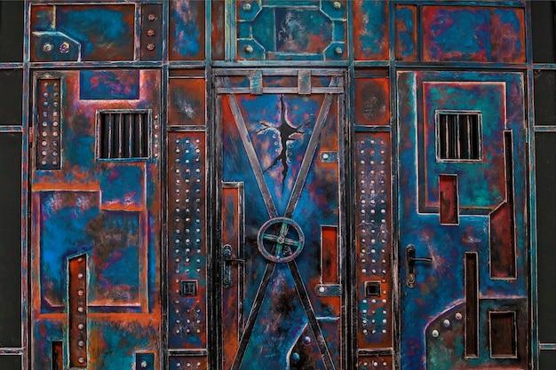 Metalen achtergrond in abstracte stijl met blauwe en rode kleuren
