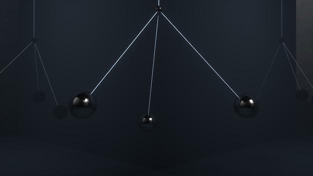 Metalen ballen zwaaien in de lucht zonder met elkaar in botsing te komen