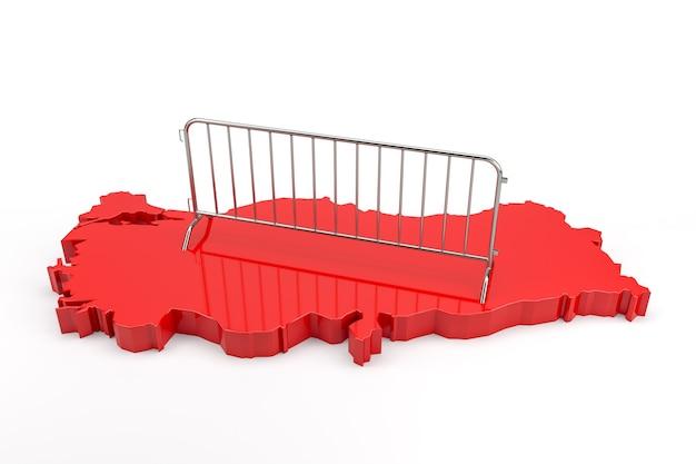 Metalen barrière op geëxtrudeerde kaart van turkije. 3d-rendering