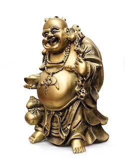 Metalen beeldjes, decoratieve beeldjes, boeddha, monnik, geïsoleerde witte achtergrond met uitknippad