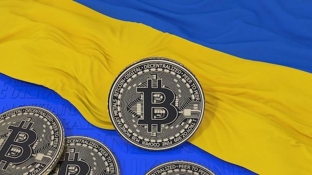 Metalen bitcoin over de vlag van oekraïne