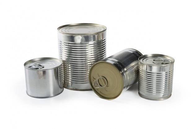 Metalen blikken geïsoleerd