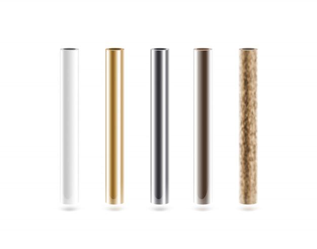 Metalen buizen geplaatst geïsoleerd