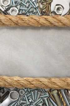 Metalen constructie hardware-instrument en touw