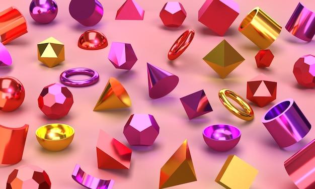 Metalen geometrische vormen van alle kleuren bollen vierkanten driehoeken vierhoeken en concaaf