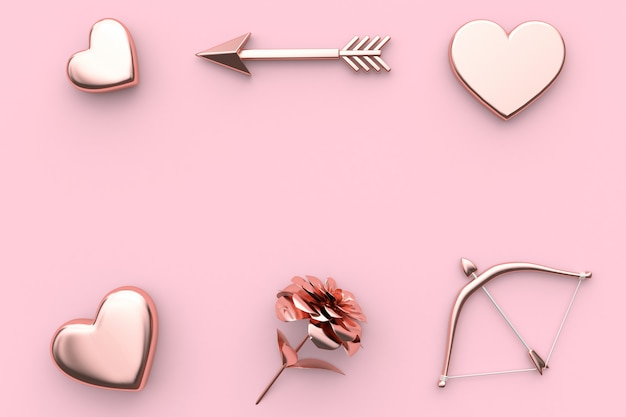 Metalen hart bloem pijl en boog