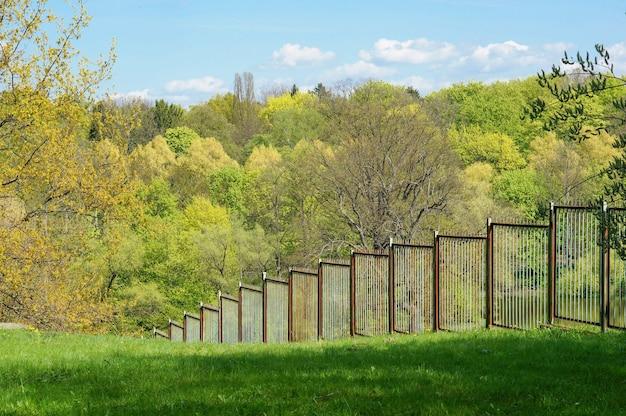 Metalen hek in de tuin met bomen in de muur