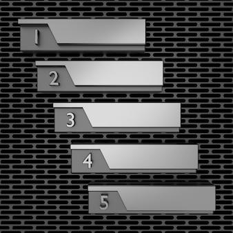 Metalen indeling. 3d-weergave