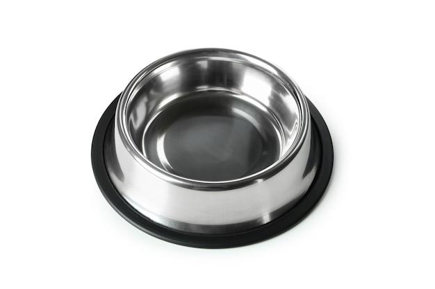 Metalen lege huisdier kom geïsoleerd op een witte achtergrond
