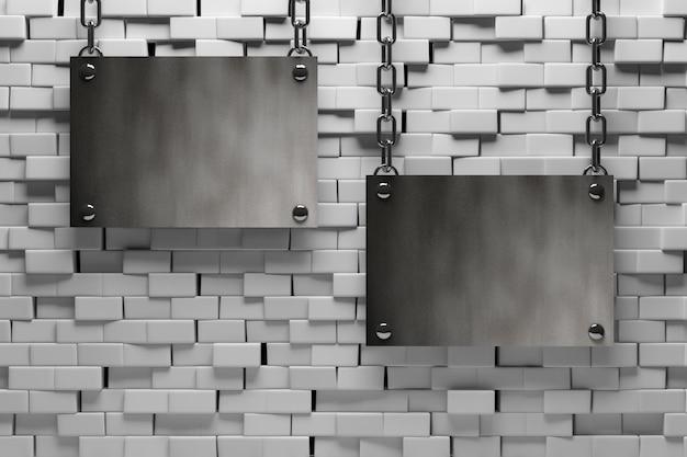 Metalen lege plaat opknoping in de buurt van de bakstenen muur