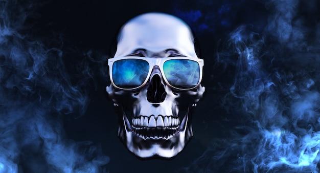 Metalen menselijke schedels met zonnebril op rookachtergrond, 3d render