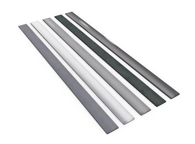 Metalen plaat met klinknagels geïsoleerde 3d illustratie met uitknippad inbegrepen