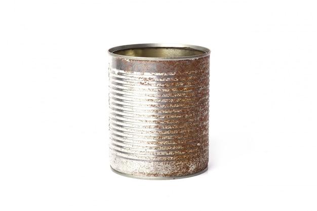 Metalen pot op wit