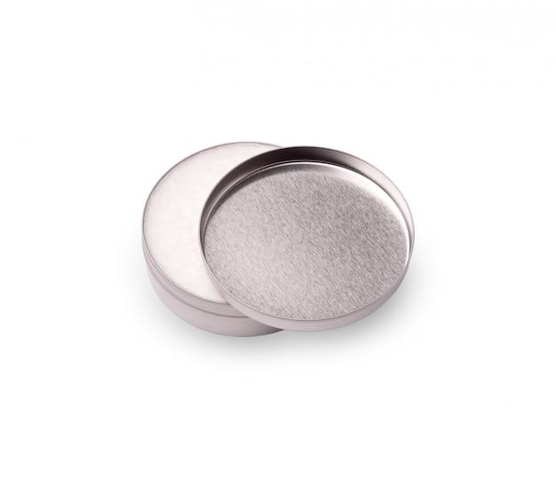 Metalen potje met witte crème