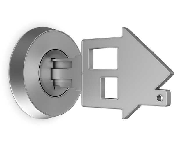 Metalen sleutel geïsoleerd
