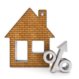 Metalen snuisterijhuis en procent. afgelegen, 3d-rendering