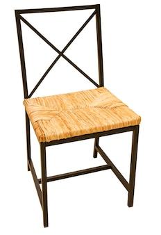 Metalen stoel met zachte geweven zitting op wit wordt geïsoleerd