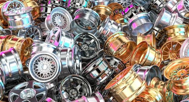 Metalen velgen in verschillende stijlen van chromen en gouden auto's. 3d render.