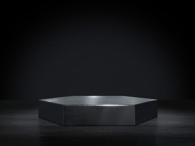 Metalen voetstuk voor weergave, platform voor ontwerp, blanco productstandaard. 3d-weergave.