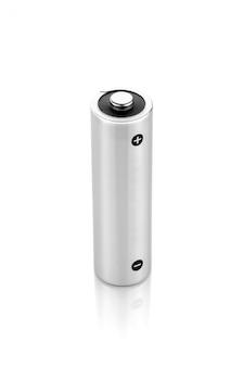 Metallic alkaline batterij aa-formaat geïsoleerd op een witte achtergrond