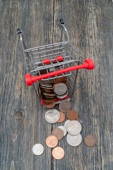 Metallic amerikaanse cent. opslag en accumulatie van geld in het financiële systeem van banken en leningen.