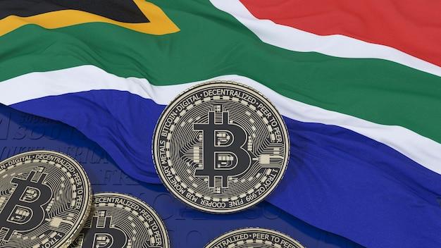 Metallic bitcoin over de vlag van zuid-afrika