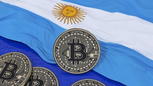 Metallic bitcoin over een argentijnse vlag