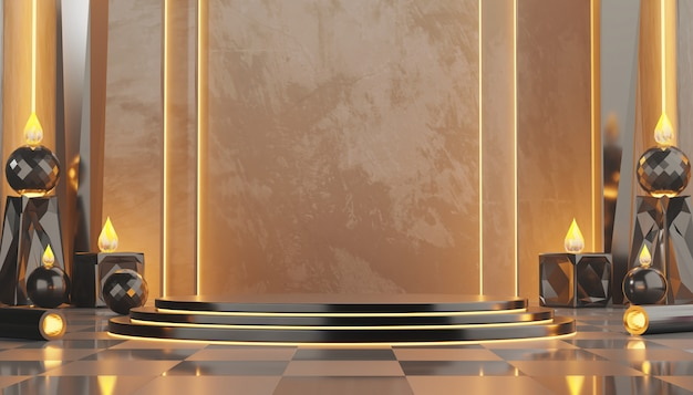Metallic castle interieur mock up stand template met warm licht en geometrie voor productreclame en commerciële, 3d-weergave.