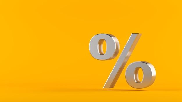 Metallic percentage geïsoleerd op een donkere achtergrond. het zilveren percentageteken op een gele 3d achtergrond, geeft terug.
