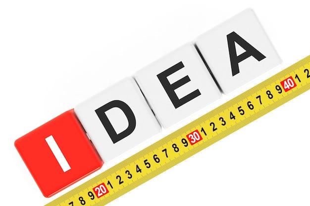 Meten idee concept. ideeën kubussen met meetlint op een witte achtergrond
