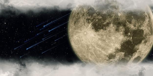 Meteoor en volle maan bewolkte nacht 3d illustratie