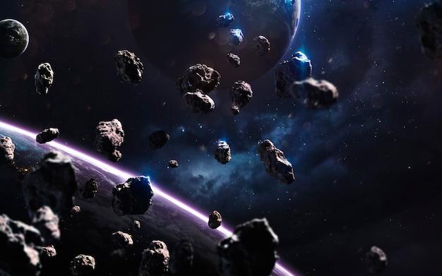 Meteorieten. deep space-afbeelding, sciencefictionfantasie in hoge resolutie, ideaal voor behang en print. elementen van deze afbeelding geleverd door nasa