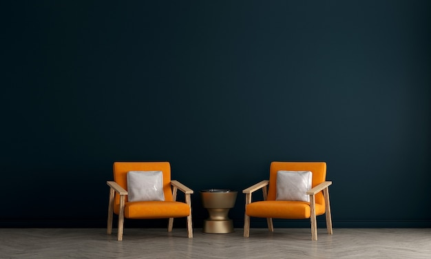 Meubeldecoratie in modern interieur, blauwe woonkamer, scandinavische stijl, 3d render,