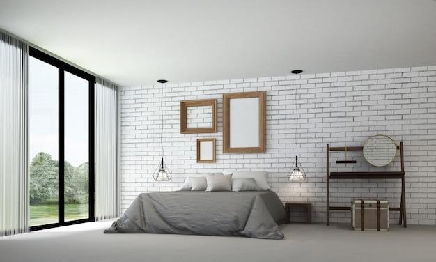 Meubeldecoratie in modern interieur, slaapkamer op de vliering, scandinavische stijl, 3d render, 3d