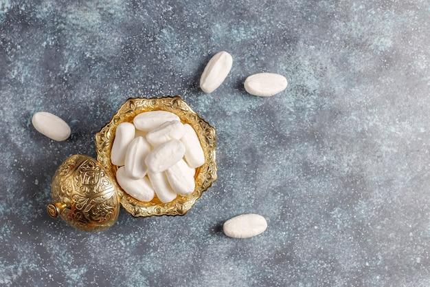 Mevlana suiker, kalkoen specifieke witte kandijsuiker, bovenaanzicht