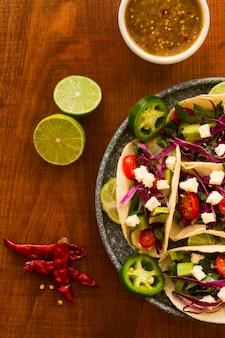 Mexicaans eten concept plat lag