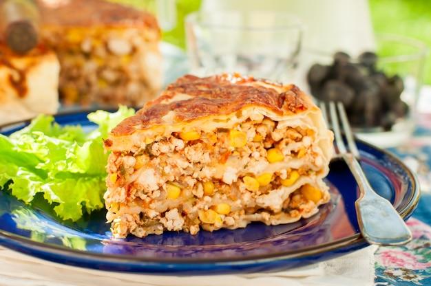 Mexicaanse kip en maistortillapastei