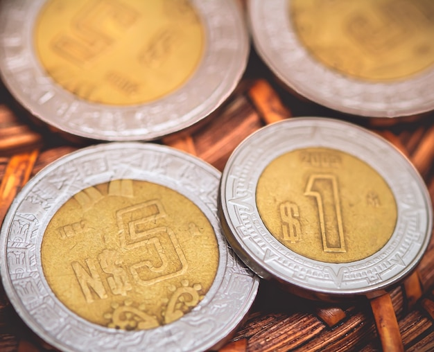 Mexicaanse peso mxn close-up fotografie van mexicaanse munten
