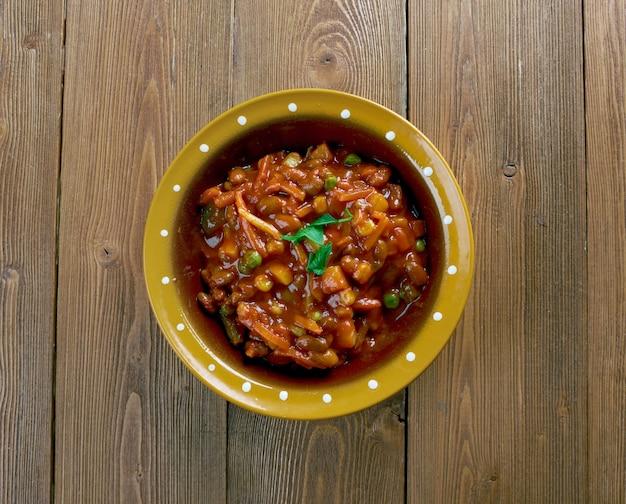 Mexicaanse taco soep close-up