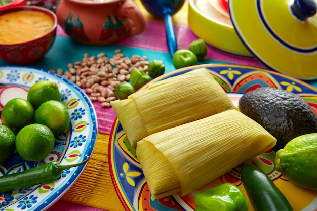 Mexicaanse tamale-tamales van graanbladeren