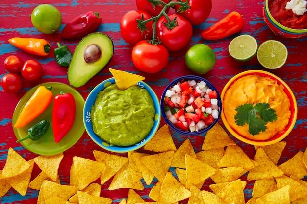 Mexicaanse voedsel nachos guacamole pico gallo kaas