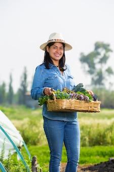 Mexicaanse vrouw die groenten in xochimilco verzamelt