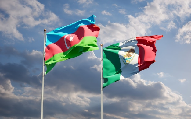 Mexico, vlaggen, banier, embleem, vlag, achtergrond, internationale betrekkingen, nationaal, vaderlandslievend, teken, staten, behang, 3d artwork