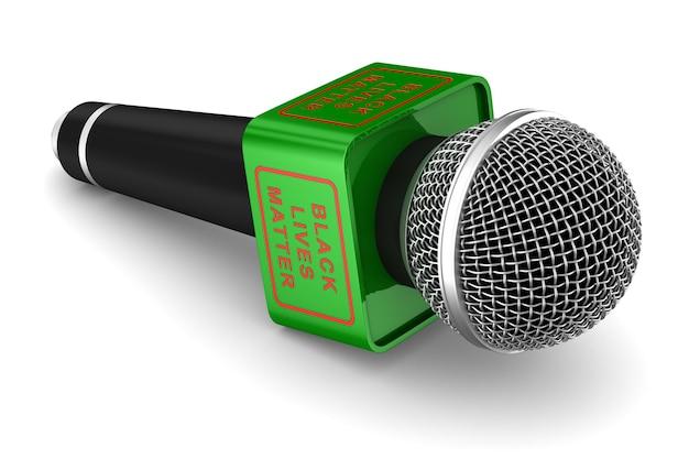 Microfoon met zwarte teksten van levensmaterie. geïsoleerde 3d-weergave