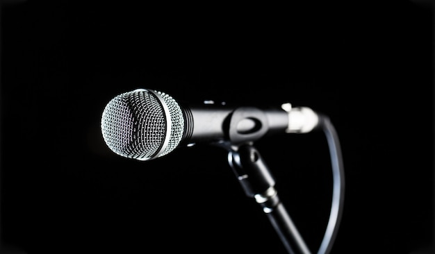 Microfoon, microfoon, karaoke, concert, stemmuziek. close-up microfoon.