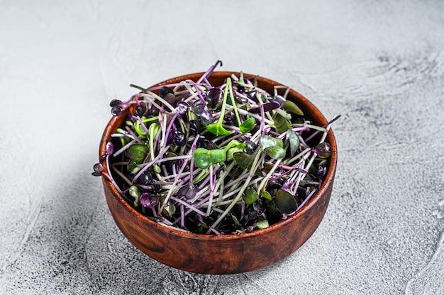 Microgreen radijs tuinkers spruiten in een houten kom