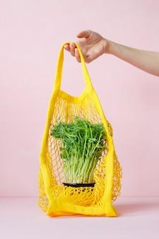 Microgreens in een potzak, boodschappentas of papieren zak, gezond en lekker veganistisch groen voedsel voor gezond eten, lunch voor het hele gezin, gezond eten vegetarisch menu