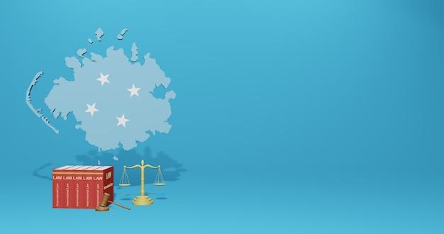 Micronesische wet voor infographics, sociale media-inhoud in 3d-weergave
