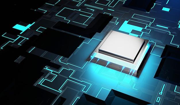 Microprocessorchip op printplaattechnologiesysteem