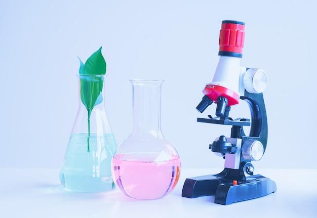 Microscoop en kleine plant in reageerbuis, laboratoriumbiotechnologieconcept.